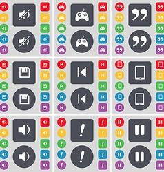 Mute gamepad quotation mark floppy media skip vector