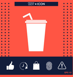 paper cup with drinking straw icon vector image vector image
