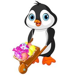 Penguin with easter wheelbarrow vector