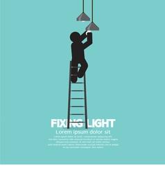Person on stepladder change ceiling light vector