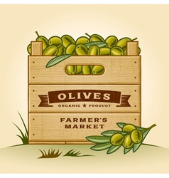 Retro crate of olives vector image vector image