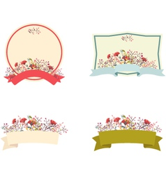 Retro floral frame and ribbon set vector