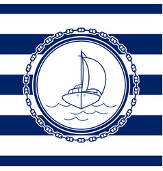 sea emblem with an yacht vector image