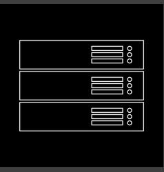 Server white color path icon vector
