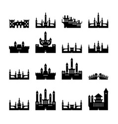 set castles silhouette vector image