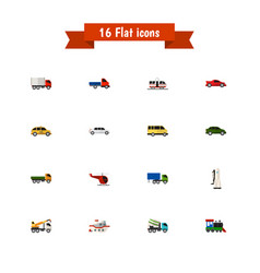 Set of 16 editable car icons includes symbols vector