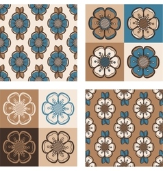 Set of fashion pattern with abstract flowers vector