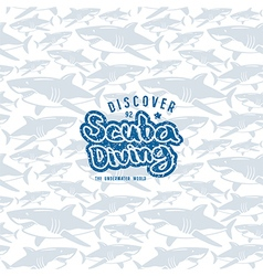 Shark seamless pattern and scuba diving emblem vector