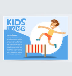 Smiling sportive boy jumping hurdle kids land vector