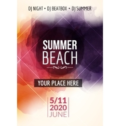 Summer beach party flyer template design Summer vector image vector image