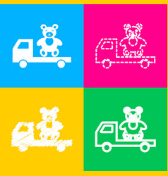 Truck with bear four styles of icon on four color vector