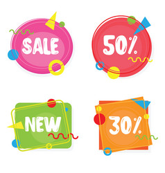 Vivid banners discount offer price label sale vector