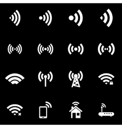 white wireless icon set vector image