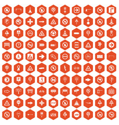 100 road signs icons hexagon orange vector