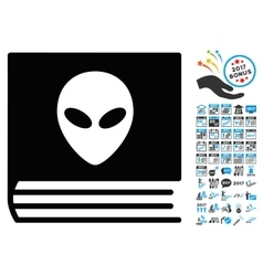 Alien catalog icon with 2017 year bonus symbols vector