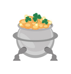 Steel cauldron gold coin st patricks day vector