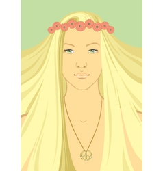 Hippy girl with a wreath of flowers on vector