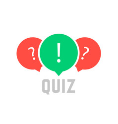 Quiz button with speech bubble vector