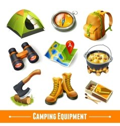 Camping icons set vector