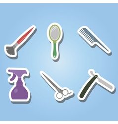 Color icons with hairdressing supplies vector