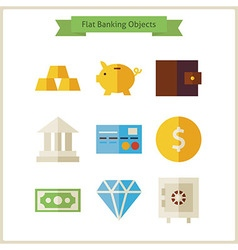 Flat money and banking objects set vector