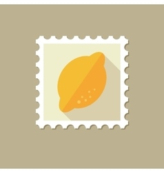 Lemon flat stamp with long shadow vector