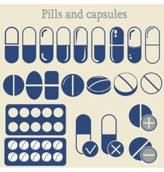 Capsules and pill icon set vector