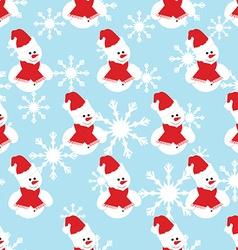 Snowman seamless pattern vector