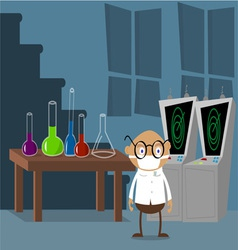 Mad scientist in lab vector