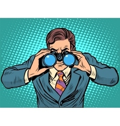 Businessman looking through binoculars lead vector