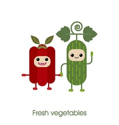 Cartoon cute smiling vegetables cucumber pepper vector
