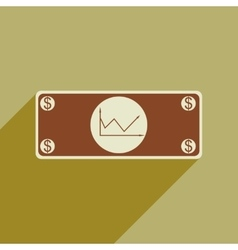 Flat web icon with long shadow financial graph vector