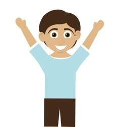 Happy boy with tan skin with arms open icon vector