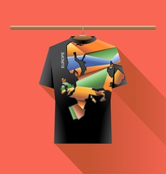 Abstract black shirt with europe colored logo vector