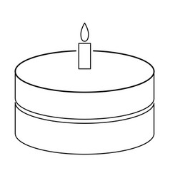 Cake with candle the black color icon vector