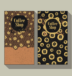 coffee shop set of two vintage labels vector image vector image