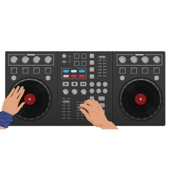 Dj hands playing vinyl top view dj interface vector