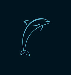 Dolphin jump line logo sign on dark background vector
