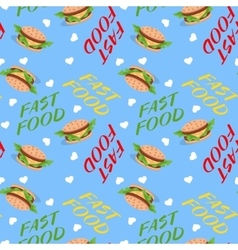 Fast food seamless pattern with sandwiches vector image vector image