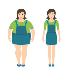 fat and slim girls in flat style vector image