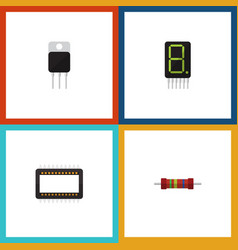 Flat icon device set of mainframe display vector
