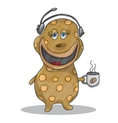 Fun cartoon character phone operator vector