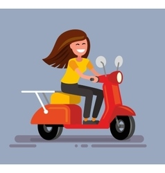 Girl sitting on scooter vector