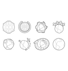globe earth icon set outline style vector image