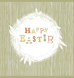 Happy easter postcard with nest symbol vector