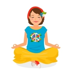 Hippie Girl Yoga Meditation vector image vector image
