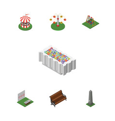 Isometric city set of seesaw sitting swing vector
