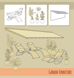 lounge chairs patio awning and flowers in po vector image vector image