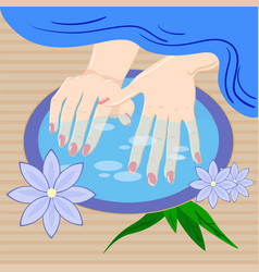 manicure hand care woman s manicured hands with vector image vector image