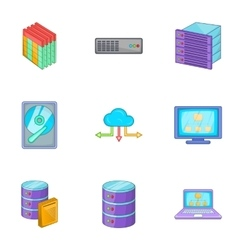 Network icons set cartoon style vector image vector image